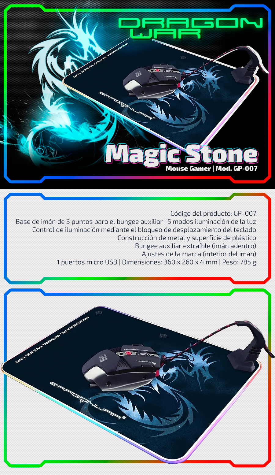 Mouse Pad Retroiluminado Dragon War RGB GP-007